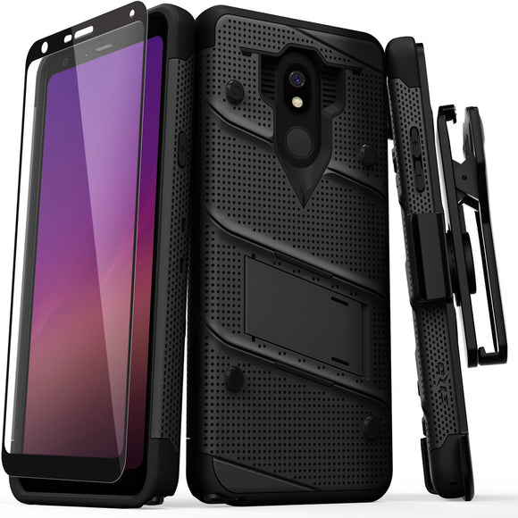 LG STYLO 5 - BOLT CASE WITH BUILT IN KICKSTAND HOLSTER AND FULL GLASS SCREEN PROTECTOR
