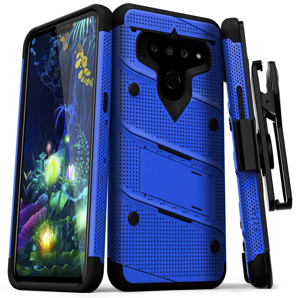 FOR LG V50 THINQ 5G - BOLT CASE WITH BUILT IN KICKSTAND AND HOLSTER BELT CLIP-BLUE & BLACK