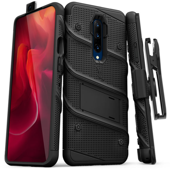 FOR ONEPLUS 7 PRO - BOLT CASE WITH BUILT IN KICKSTAND AND HOLSTER BELT CLIP