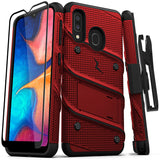ZIZO BOLT Samsung Galaxy A20 Case - Built in Kickstand Belt Holster and Tempered Glass Screen Protector Galaxy A50 - Red / Black