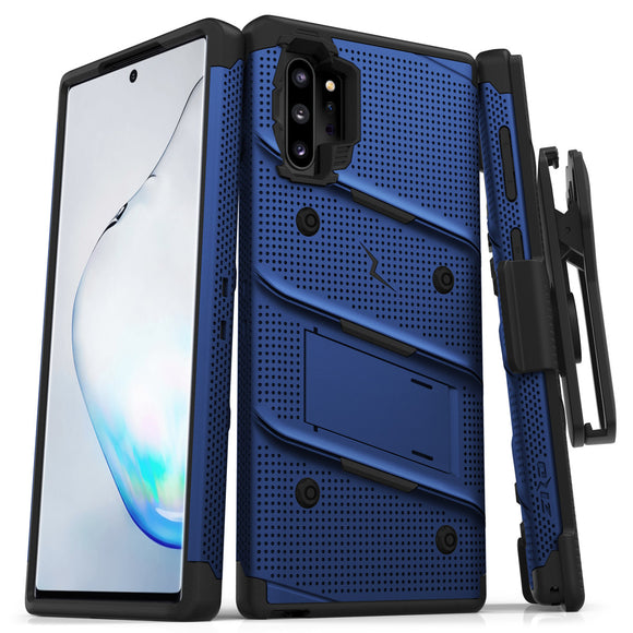 ZIZO BOLT Samsung Galaxy Note 10 Plus Case - Built-In Kickstand Belt Holster Lanyard - Blue/black