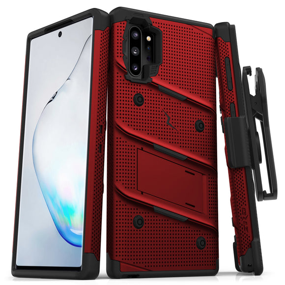 ZIZO BOLT Samsung Galaxy Note 10 Plus Case - Built-In Kickstand Belt Holster Lanyard - Red/black
