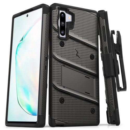 ZIZO BOLT SAMSUNG GALAXY NOTE 10 CASE - BUILT-IN KICKSTAND BELT HOLSTER LANYARD - GRAY&BLACK