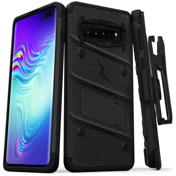 FOR SAMSUNG GALAXY S10 5G - BOLT CASE WITH BUILT IN KICKSTAND HOLSTER-BLACK & BLACK