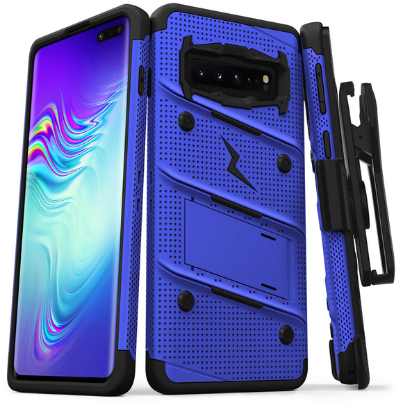 FOR SAMSUNG GALAXY S10 5G - BOLT CASE WITH BUILT IN KICKSTAND HOLSTER-BLUE & BLACK