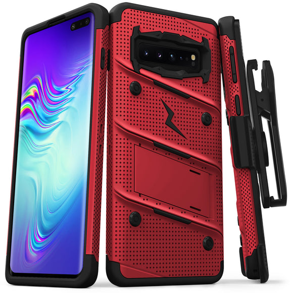FOR SAMSUNG GALAXY S10 5G - BOLT CASE WITH BUILT IN KICKSTAND HOLSTER-BLACK & RED
