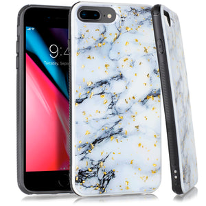 iPhone 8 Plus /7P /6P Chrome Flake Marble White