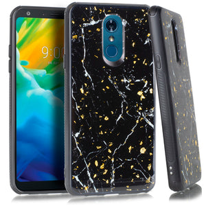 LG Stylo 5 Chrome Flake Marble Black