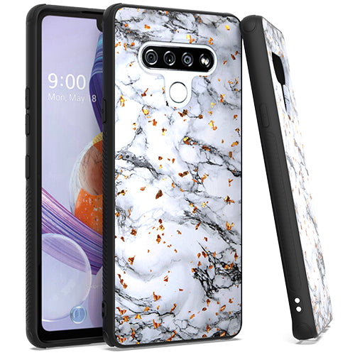LG Stylo 6 Chrome Flake Marble White