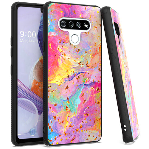 LG Stylo 6 Chrome Flake Marble Rainbow