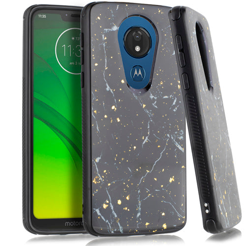Motorola Moto G7 Power SUPRA Chrome Flake Marble Black