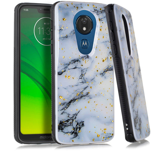 Motorola Moto G7 Power SUPRA Chrome Flake Marble White