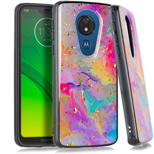Motorola Moto G7 Power SUPRA Chrome Flake Marble Rainbow