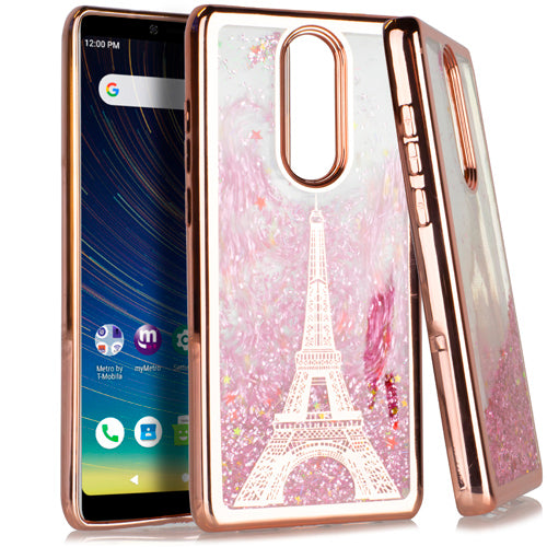 Coolpad Legacy CHROME Glitter Motion Paris Tower/Dream Catcher ROSE GOLD