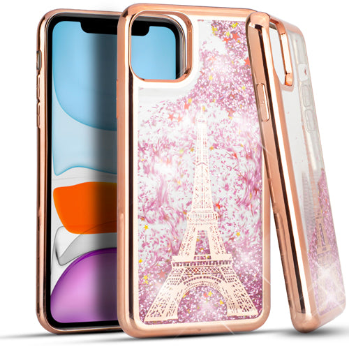 iPhone 11 6.1 CHROME Glitter Motion Paris Tower ROSE GOLD