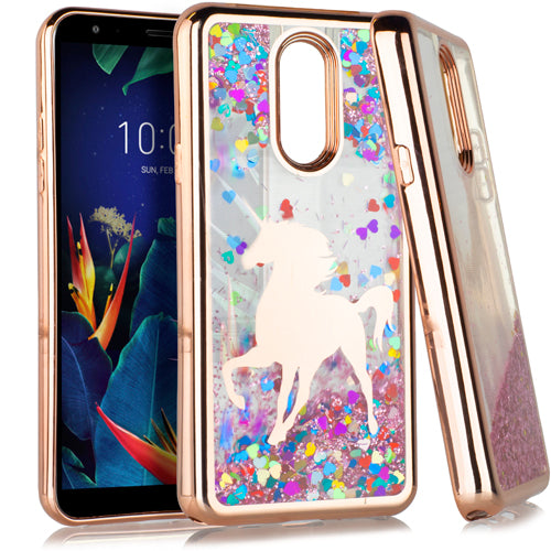 LG K40 CHROME Glitter Motion Case ROSE GOLD