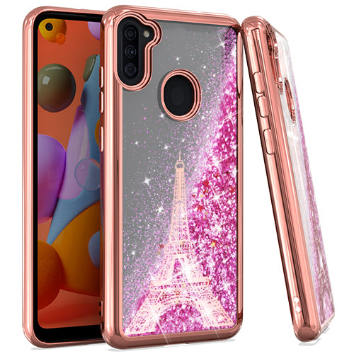 Samsung A11 CHROME Glitter Motion Paris Tower R. GOLD