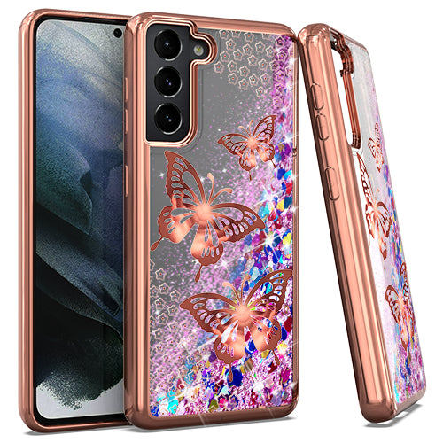 Samsung S21 6.2 CHROME Glitter Motion Butterfly ROSE GOLD