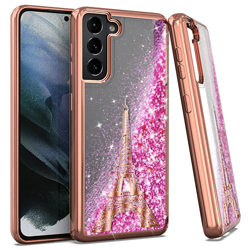Samsung S21 6.2 CHROME Glitter Motion Paris Tower R. GOLD