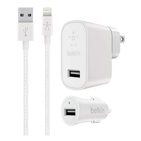 Belkin Mixit Up Car + Home Charger Kit for Apple iPhone 2.4AMP WHITE - NEW