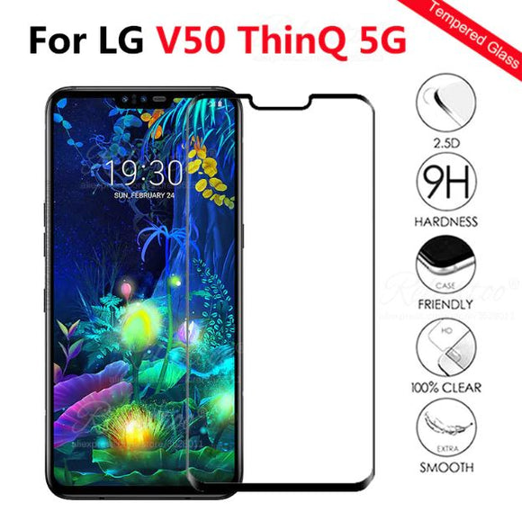 Protective glass on For LG V50 ThinQ 5G Screen Protector For LG V50 V 50 Tempered safety Glass lgV50 Full cover Protection Film