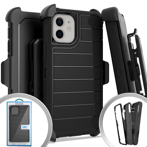 PKG iPhone 12 MINI 5.4 Delux Brushed Case w/ Holster Black