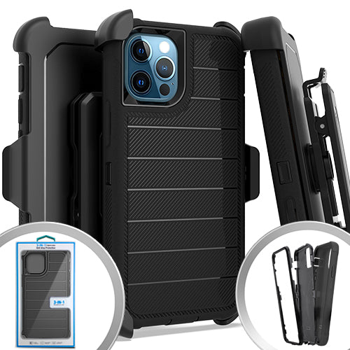 PKG iPhone 12/ 12 PRO 6.1 DeluxBrushedCase Holster Black