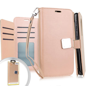 LG Stylo 5 Deluxe Wallet w/ Blister Rose Gold