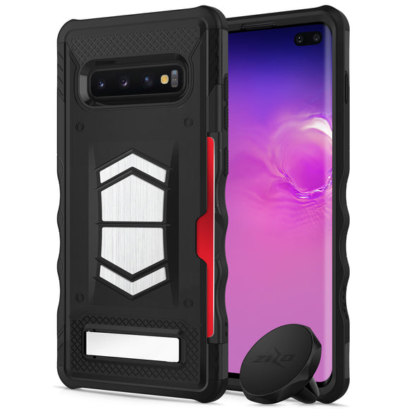 FOR SAMSUNG GALAXY S10 PLUS - ZIZO ELECTRO SERIES CASE WITH CARD SLOT BUILT IN MAGNET AIR VENT MAGNETIC HOLDER -BLACK&BLACK
