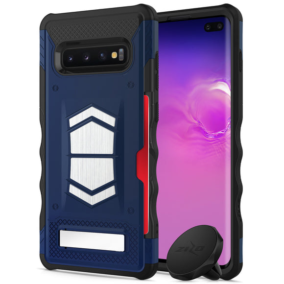 FOR SAMSUNG GALAXY S10 PLUS - ZIZO ELECTRO SERIES CASE WITH CARD SLOT BUILT IN MAGNET AIR VENT MAGNETIC HOLDER-Dark Blue& Black