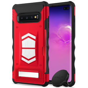 FOR SAMSUNG GALAXY S10 PLUS - ZIZO ELECTRO SERIES CASE WITH CARD SLOT BUILT IN MAGNET AIR VENT MAGNETIC HOLDER -Red & Black