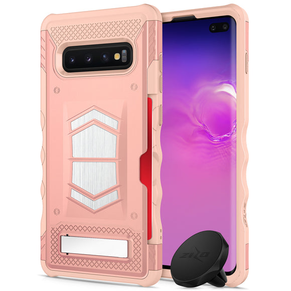 FOR SAMSUNG GALAXY S10 PLUS - ZIZO ELECTRO SERIES CASE WITH CARD SLOT BUILT IN MAGNET AIR VENT MAGNETIC HOLDER- RoseGold&Peach