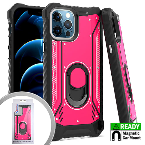 PKG iPhone 12 Pro MAX 6.7 Metal Jacket Ring Stand Hot Pink