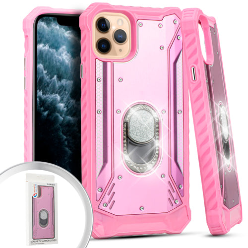 PKG iPhone 11 Pro MAX 6.5 Metal Jacket Diamond Stand Pink