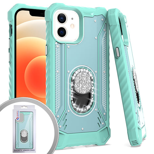 PKG iPhone 12 MINI 5.4 Metal Jacket Diamond Stand Teal