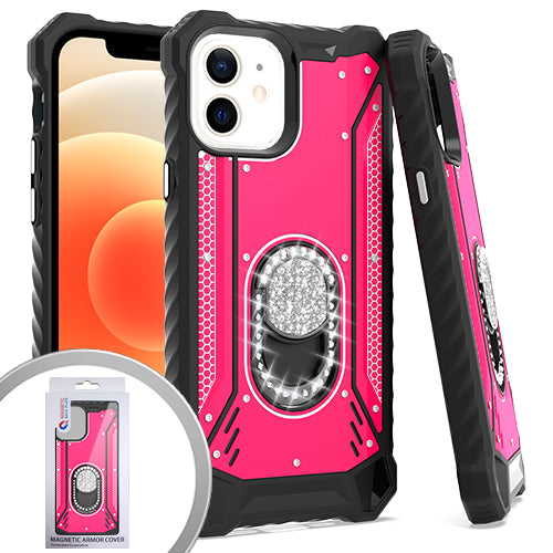 PKG iPhone 12 MINI 5.4 Metal Jacket Diamond Stand Hot Pink