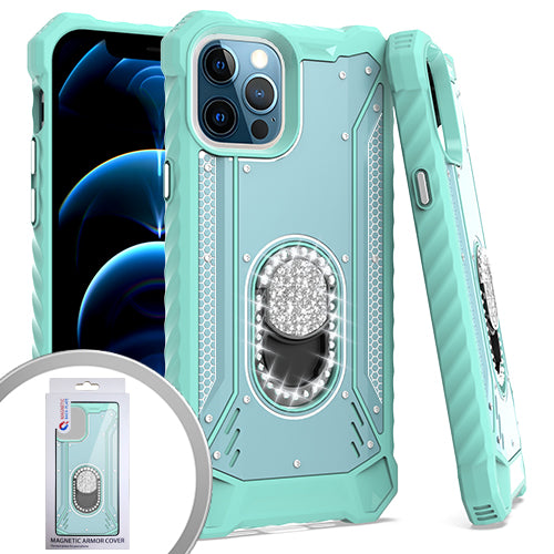 PKG iPhone 12/ 12 PRO 6.1 Metal Jacket Diamond Stand Teal