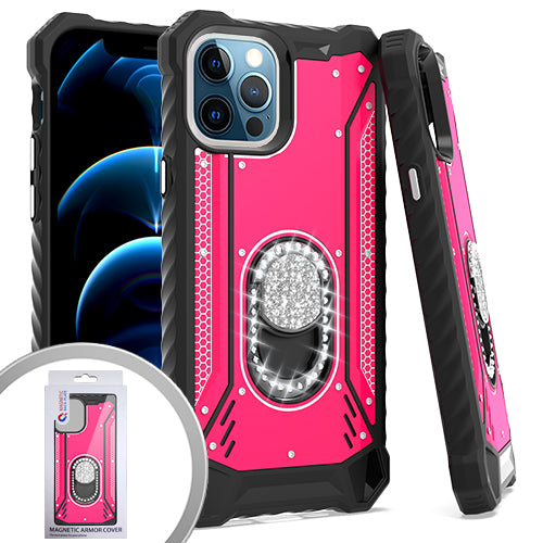 PKG iPhone 12/ 12 PRO 6.1 MetalJacket Diamond Stand HotPink