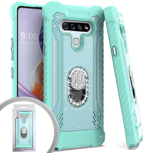 PKG LG Stylo 6 Metal Jacket Diamond Stand Teal