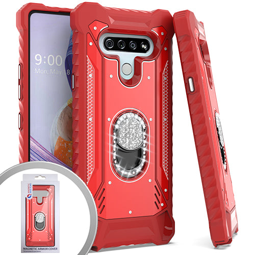 PKG LG Stylo 6 Metal Jacket Diamond Stand Red
