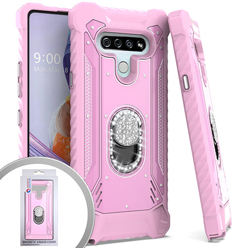 PKG LG Stylo 6 Metal Jacket Diamond Stand Pink