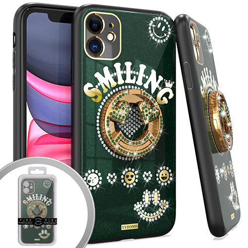 PKG iPhone 11 6.1 Bling Ring Case SMILING Green