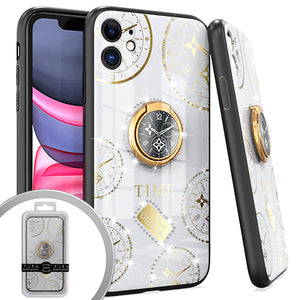 PKG iPhone 11 6.1 Bling Ring Case TIME White