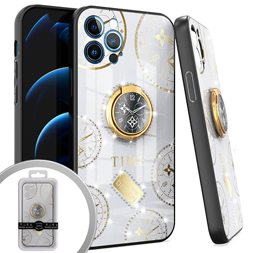 PKG iPhone 12 Pro MAX 6.7 Bling Ring Case TIME White