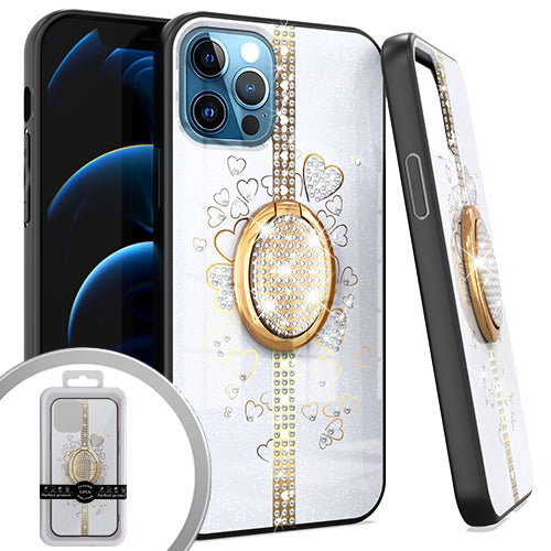 PKG iPhone 12/ 12 PRO 6.1 Bling Ring Case HEART White