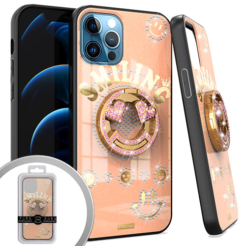 PKG iPhone 12/ 12 PRO 6.1 Bling Ring Case SMILING Rose Gold