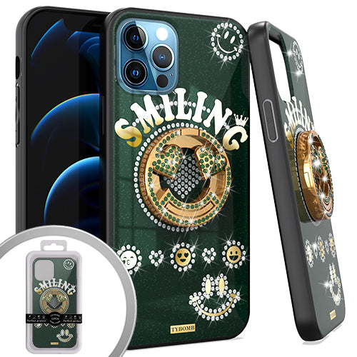 PKG iPhone 12/ 12 PRO 6.1 Bling Ring Case SMILING Green