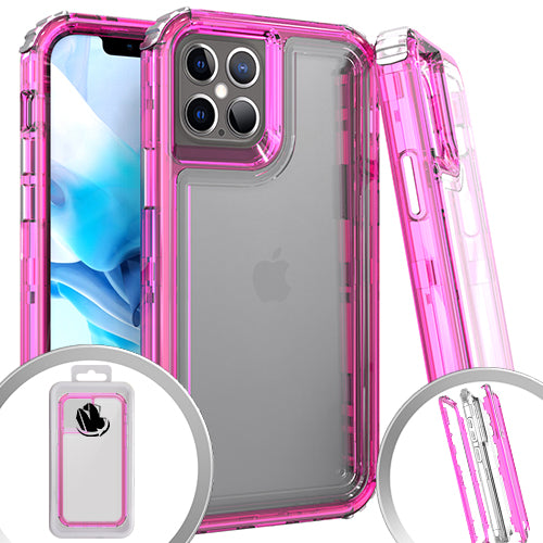 PKG 3 IN 1 iPhone 12 Pro MAX 6.7 Transparent Case Hot Pink
