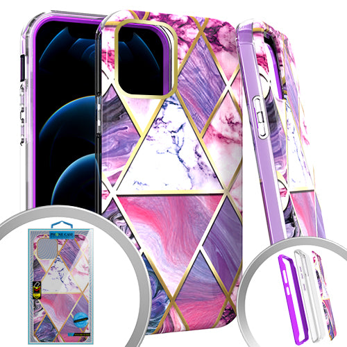 PKG 3 IN 1 iPhone 12/ 12 PRO 6.1 MARBLE Purple