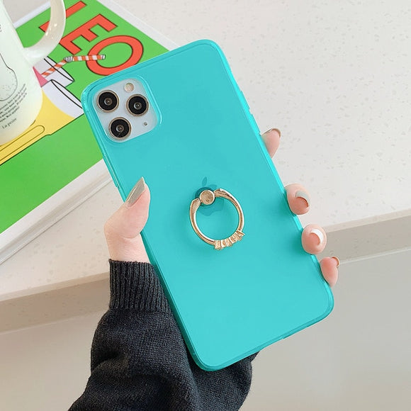 Transparent Neon Case With Finger Ring Holder Back Cover For iPhone 11 Promax- Green